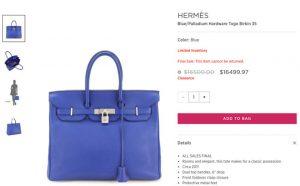Túi xách Hermes Kelly and Birkin lần đầu hạ giá