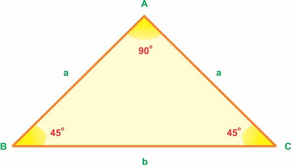 Công thức tính diện tích tam giác vuông cân