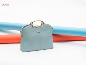 Túi xách cỡ trung vân nổi tay cầm kim TXT120