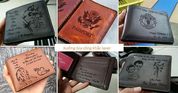 Khắc tên lên ví da, bóp da bằng công nghệ laser giá rẻ lấy ngay