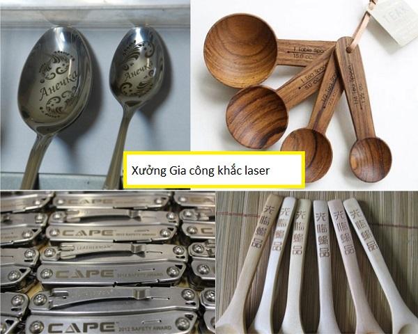 Khắc chữ lên dao thìa, muỗng nĩa bằng công nghệ laser giá rẻ