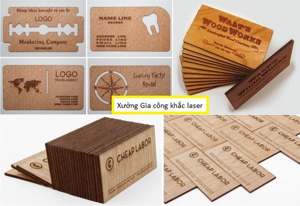 Làm Card Visit, làm Name card gỗ danh thiếp bằng gỗ lấy liền